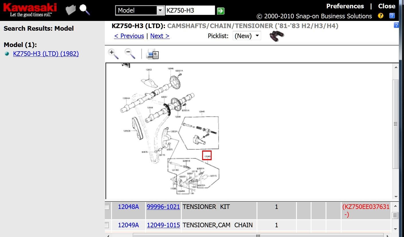 Cam Chain Tensioner Kzrider Forum Kz Z1 Z Motorcycle B2a Kz650 Wiring Diagram Tensionerkit